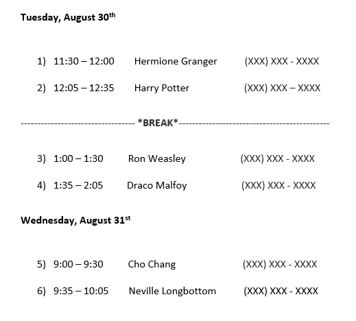 Example of a semifinalist interview schedule